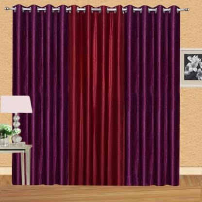EXCEL BAZAAR 275 cm (9 ft) Polyester Long Door Curtain (Pack Of 3)