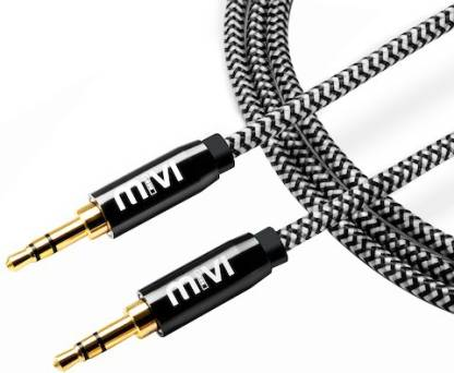 Mivi 3.5mm Male to Male 6ft long Nylon Braided 1.8 m AUX Cable   Compatible with Computer, TV, Mobile, MP3 Player, Black, White, One Cable  Mivi Compu