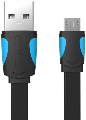 VEnTIOn Universal Micro USB Data And Sync Cable - Highly Durable, Flat , Fast Charging 2.4A , Black ( 1 Meter ) 2.4 A 1 m Micro USB Cable