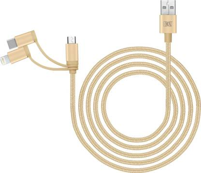 MX 3 in 1 Cord USB_A to Micro-USB Lightning 8 Pin Type C Charging Sync Cables 1Meter with Nylon Mesh 3.1 A 1 m Copper Braiding Micro USB Cable