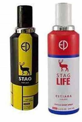 ESTIARA STAG PERFUME BODY SPRAY FOR MEN and STAG LIFE PERFUME BODY SPRAY FOR MEN Deodorant Spray  -  For Men