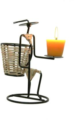 Aesthetic Decors Earth 1 Compartments Iron, Cane Pen Stand