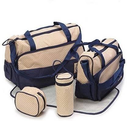 Printelligent Dark Blue Color Printed Designer Superior High quality Large Multi-Purpose Diaper Bag 5 Piece Set (Mommy Bag) - 11004 Diaper Bag