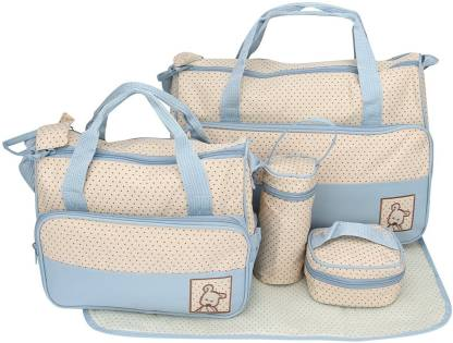 Printelligent Blue Color Printed Designer Superior High quality Large Multi-Purpose Diaper Bag with Matching Changing Mat - 5 Piece Set (Mommy Bag) - 11001 5 Piece Set (Mommy Bag)