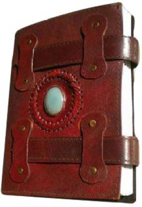 eShilp Handmade Plain Leather Cover Diary-1 Stone-2 Strip Flap Size 23x13x2.5 Cm Brown Regular Journal Unruled 180 Pages