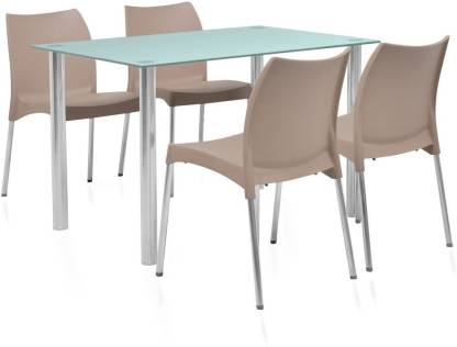 @Home by nilkamal Napoli Glass 4 Seater Dining Set