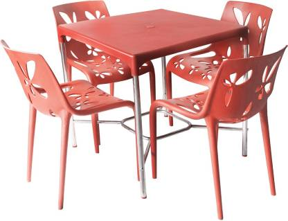 Cello Red Plastic Table & Chair Set(Finish Color - Red)
