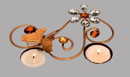 Indigo Creatives Butterfly 2 Tea Light Gift Iron Table Diya Set Iron Table Diya Set Iron (Pack of 3) Table Diya Set