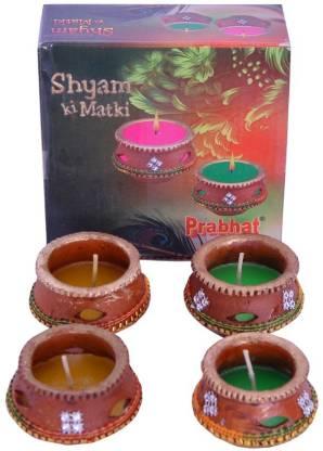 Indigo Creatives Set of 4 Wax Instant Use Earthen Pot Designer Diwali Puja Decorative Diya Set Earthenware (Pack of 4) Table Diya Set