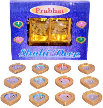 Indigo Creatives Set of 12 Wax Instant Use Earthen Gold Designer Diwali Puja Decorative Diya Set Earthenware (Pack of 12) Table Diya Set