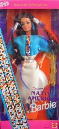 BARBIE Special Edition Barbie 1993 Dolls of the World 12 Inch Doll Collection - Second Edition Native American Barbie Doll with Native American Dress, Boots, Ring, Earrings, Brush and Doll Stand