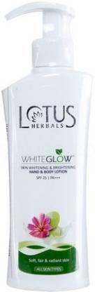 LOTUS HERBALS HERBALS WHITEGLOW Skin Whitening & Brightening Hand & Body Lotion SPF-25 I PA+++