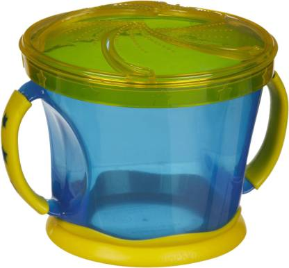 MUNCHKIN Snack Catcher - Blue Body Yellow Cap  - Plastic