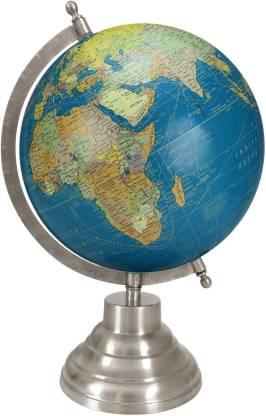 Globeskart Designer Royal Blue with Antique Silver Finish Stand Desk & Table Top Political World Globe
