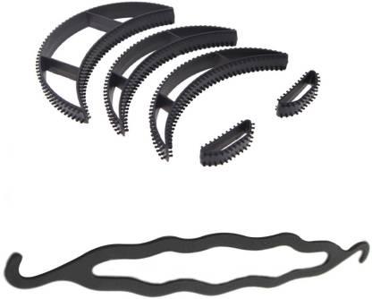 Style Tweak Combo of Hair Volumizing Bumpits (Set of 5) and Hair Twist Style Donut Bun Maker Hair Accessory Set