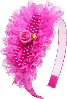One Personal Care Princess Flower Charm Pearl Studded Netted Designer Part Wear Hair Accessory Set
