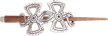 Mela Wooden Stick With Oxidised Metal Buckle Hair Clip