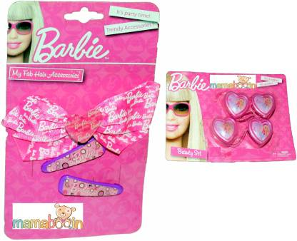 Mamaboo BARBIE Pink Bow Clips+4 Tie Hair Accessory Set