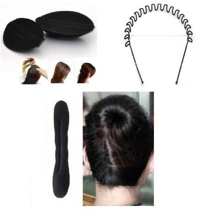 Chanderkash Set Of Donut Bun With Puff Bun And Hair Band Hair Accessory Set
