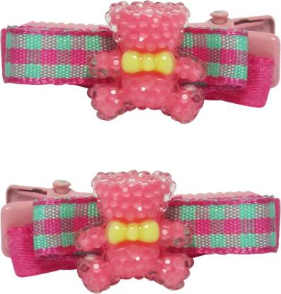 Jewelz Bright Magenta And Light Green Barret Clips for Kids Hair Clip