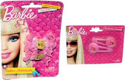 Mamaboo Barbie Pink Net Bow Clips + 2 Clip Combo Hair Accessory Set