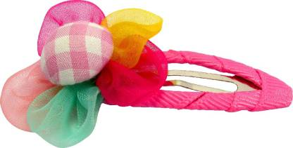 Jewelz Pink Check Floral Hair Tic Tac Clip