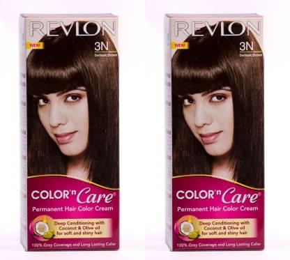 Revlon Color N Care Permanent Hair Color Cream - Darkest Brown 3N - Pack of 2 , Darkest Brown