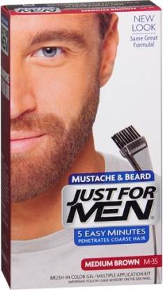 JUST FOR MEN Medium Brown Brush In Gel , Medium Brown