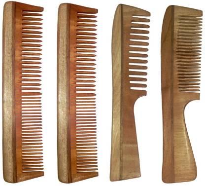 Ginni Marketing Combo of 4 Neem Wood Combs (regular + regular and detangler handle)(7.5 Inches)