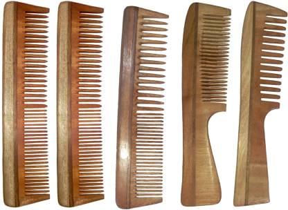 Ginni Marketing Combo of 5 Neem Wood Combs (regular + regular and detangler handle)(7.5 Inches )