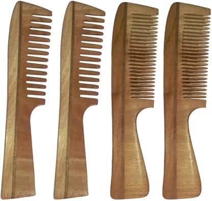 Ginni Marketing Combo of 4 Neem Wood Combs ( medium and baby detangler)