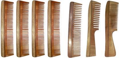 Ginni Marketing Combo of 7 Neem Wood Combs (regular+handle)