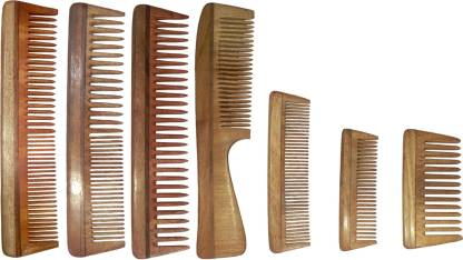 Ginni Marketing Combo of 7 Neem Wood Combs (regular + regular detangler+regular and detangler handle + 4 Inches, 5 Inches and baby detangler)