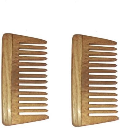 "Ginni Marketing Combo of 2 Neem Wood Combs (baby/small detangler-4"" )"