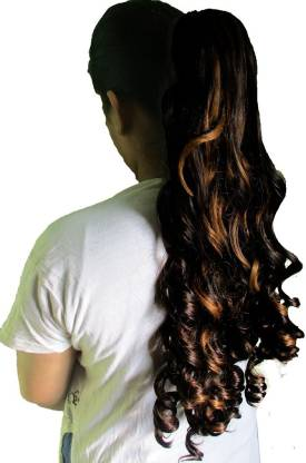 WigOWig Long Beautiful Golden Brown Curly  Pony Tail Hair Extension