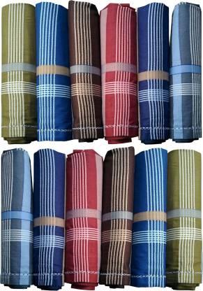 """Supriya Dark Color Men's Cotton Striped 44x44Cm Pack of 12 [""""Multicolor""""] Handkerchief"""