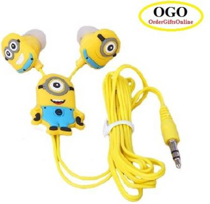 OGO Despicable Me Stuart | Minions   Earphones With 3.5 Mm Universal Jack Headphone Yellow, In the Ear  OGO Headphones