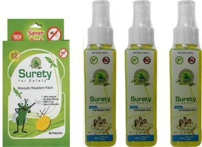 Surety for Safety Mosquito Repellent Patch 50 Patch + Anti Mosquito spray 3 Bottles