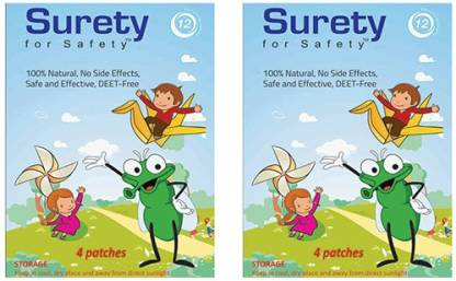Surety for Safety Herbal Mosquito Repellent Patches 4 (Pack of 2)