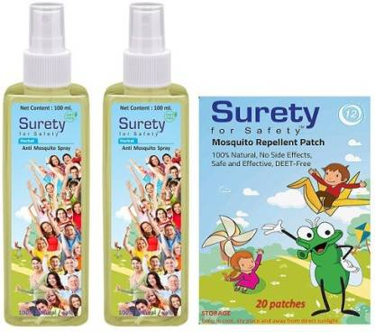Surety for Safety Anti Mosquito Spray (100ml) (Pack of 2) + Mosquito Repellent Patch 20