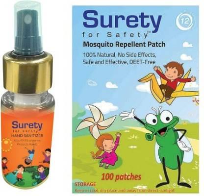 Surety for Safety Hand Sanitizer Orange (100ml) + Mosquito Repellent Patch 100