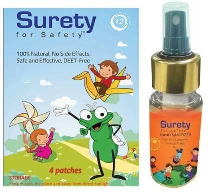 Surety for Safety Mosquito Repellent Patch 4 + Hand Sanitizer Orange (100ml)