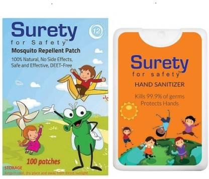 Surety for Safety Mosquito Repellent Patch 100 + Hand Sanitizer Orange (20ml)