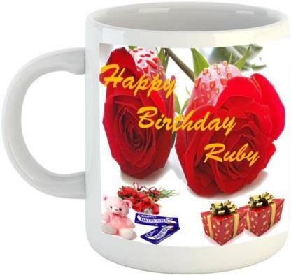 EMERALD Happy Birthday Ruby Ceramic Coffee Mug