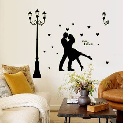 Love Couple Modern Black Wall Sticker, Living Room Wall Decals