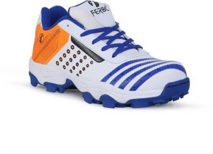 Feroc ADF White Blue Cricket Shoes For Men