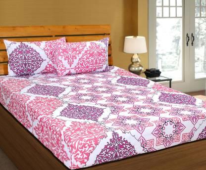 ZESTURE 144 TC Cotton Double Abstract Bedsheet