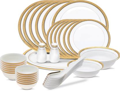 Henniger Pack of 36 Bone China, Gold Plated LIMITED EDITION Dinner Set