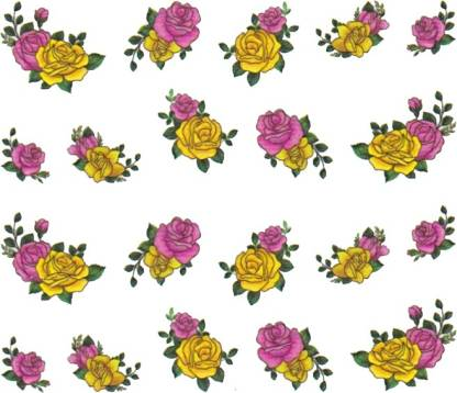 SENECIO™ Rose Bunch Multicolor Style - 25 Nail Art Manicure Decals Water Transfer Stickers Sheet
