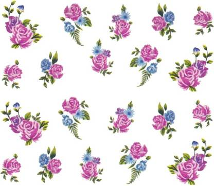 SENECIO™ Rose Bunch Multicolor Style - 22 Nail Art Manicure Decals Water Transfer Stickers Sheet